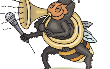 Bee blowing horn into a microphone. Represents unique book marketing ideas to build buzz for your book.
