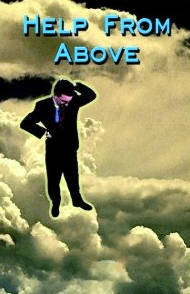 A man standing on clouds looking down. Cover for a Christian fiction book.
